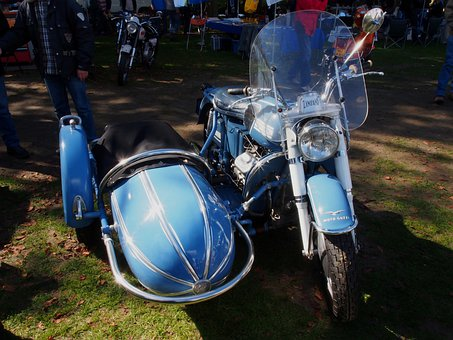 Moto Guzzi, Motorcycle, Cycle, Sidecar, Blue, Sharp