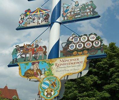 Maypole, Bavaria, Munich, Tradition, Viktualienmarkt