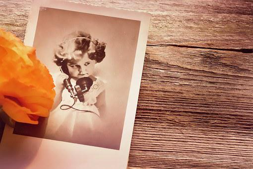 Postcard, Old, Antique, Wood, Flower, Orange, Memories