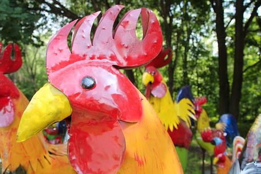 Sculpture, Art, Colorful, Rooster, Metal, Red