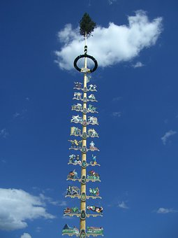 Maypole, May, Tradition, Sky, Blue, Cloud, Clouds, Oy