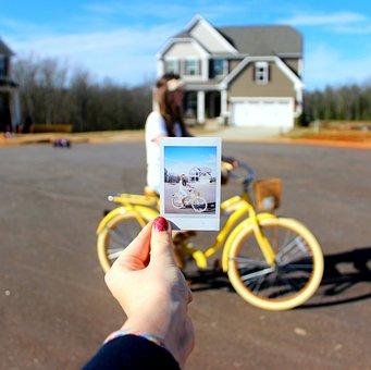Bike, Polaroid, Flower Crown, Girl, Road, Spring, Happy