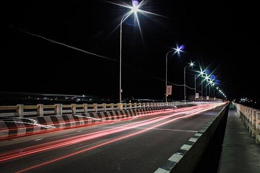 Street, Night, Light, City, Road, Traffic, Urban, Speed