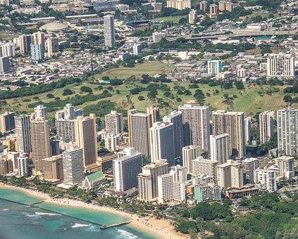 Honolulu, Hawaii, Skyscrapers, Aerial Shot, Skyline