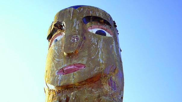 Totem, Indian, American, Wooden Pole, Old Civilization