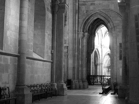 Portugal, Church, Black And White, Arches