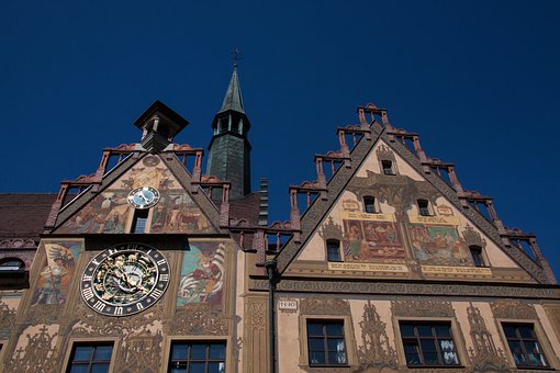 Ulm, City, Building, Architecture, Town Hall, Painted