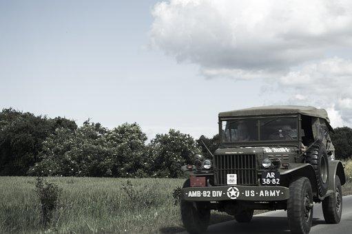 Jeep, Truck, Military, War, Reconstitution, Battle