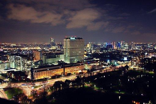 Rotterdam, City Scape, Night Shot, Port City