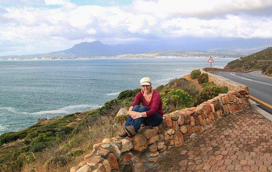 Woman, Outlook, Coast, Coastal Landscape, View