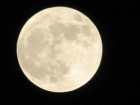 Full, Moon, Sky, Night, Dark, Space, Glowing, Lunar