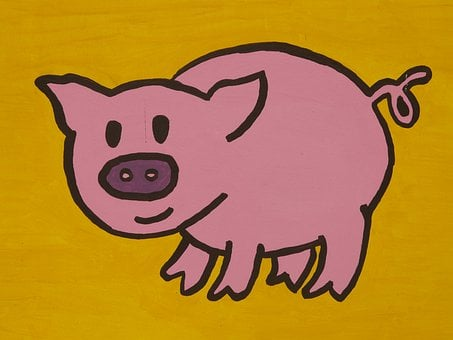 Pig, Cartoon Character, Drawing, Funny, Image, Animal
