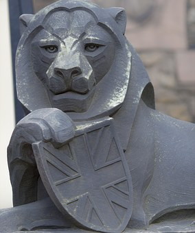 Scotland, Lion, Stone Sculpture, Edinburgh Castle