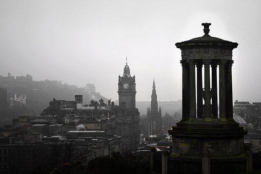 Edinburgh, Carlton Hill, Landscape, Scotland, Uk, Mist
