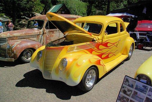 Talahi, Car Show, Shaver Lake, Yellow, Car, Flames