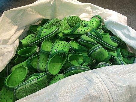 Shoes, Green, Sack, Croocks, Crocks, Chilrens, Children