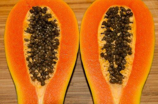Papaya, Red Papaya, Fruit, Ripe, Seeds, Orange, Juicy