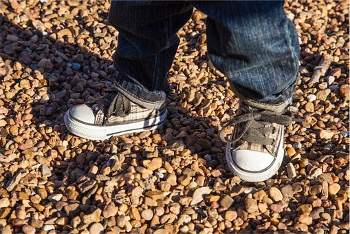 Kid, Child, Shoes, Laces, Jeans, Rocks