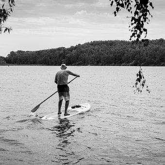 Old Man, Lake, Paddle, Surf, Water, Nature