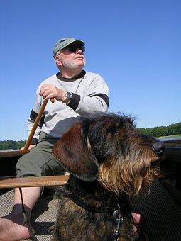 Man, Dog, Sky, Canoeing, Freedom, Friends, Dachshund