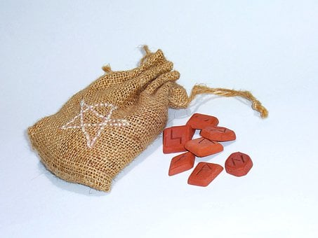Rune, Runes, Runic, Stones, Clay, Orange, Bag, Sack