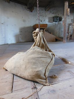 Old Windmill, Dyrhave Mill Interior, Sack, Chain