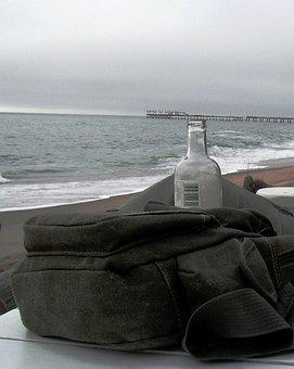 Sea, Sky, Overcast, White Foam, Hite Table, Canvas Bag