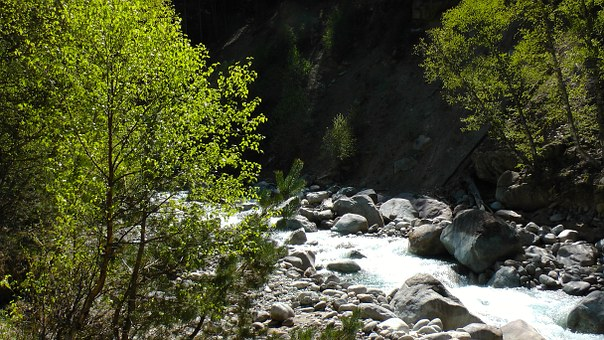 Mountains, River, Nature, Water, Summer, Rocks, Stones