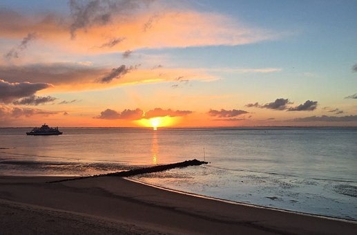 Sea, Sunrise, Sunrise On The Sea, Sun, Mirroring
