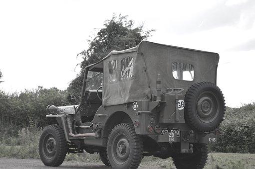 Jeep, Truck, War, Second World War, Normandy, Military