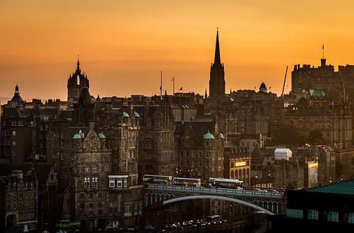Edinburgh, Scotland, Sunset, View Of Edinburgh