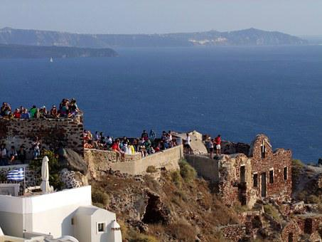 Crater Rim, View, Viewpoint, Ruin, Cyclades, Santorini