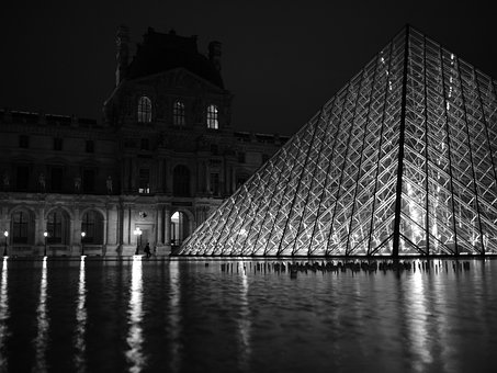Louvre, Paris, Night, Pyramid, Reflections, Water