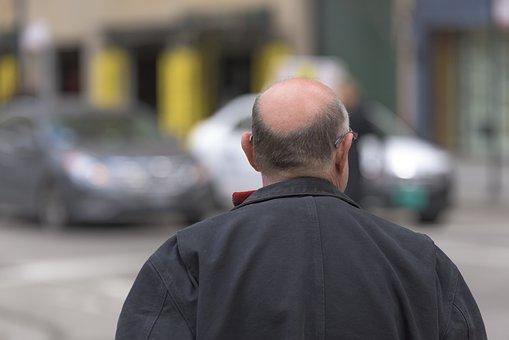 Bald, Old, Man, White, Grandfather, Grandpa, Back, Ears