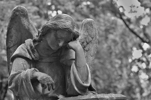 Cemetery, Statue, Stone, Angel, Hands, Sadness, Death