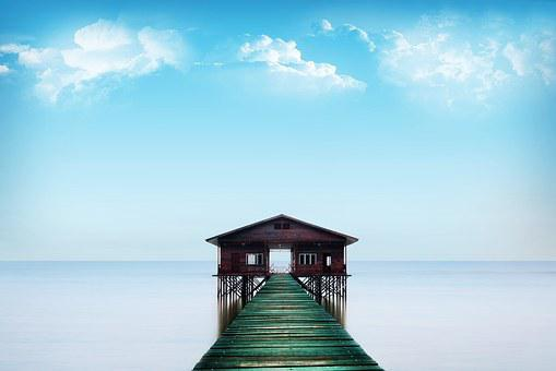Blue, Ocean, House, Bridge, Floating Pontooon