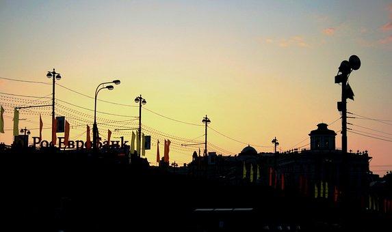 City, Street, Buildings, Skyline, Silhouette