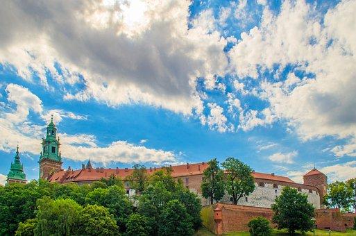 Wawel, Castle, Krakow, Poland, Sky, Clouds, Trees