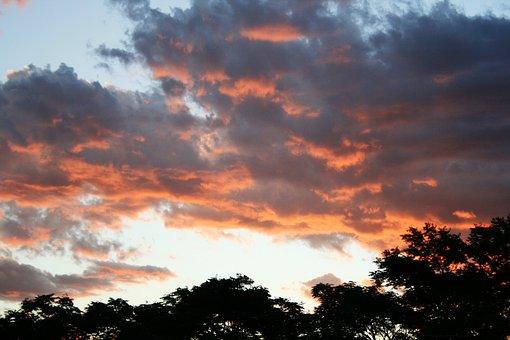 Sunset, Clouds, Soft Orange, Silhouette, Contrast