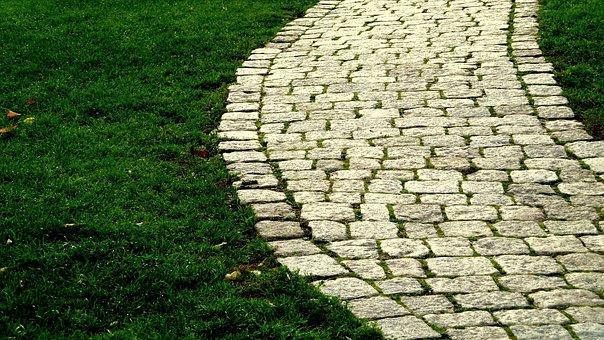 Road, Grass, Cobblestone, Path, Destination, Walk