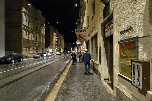 Street, Footpath, Road, Cold, Rainy, Night, Innsbruck