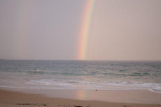 Rainbow, Ocean, Soft Pink, Colour, Sunrise, Sea, Wave