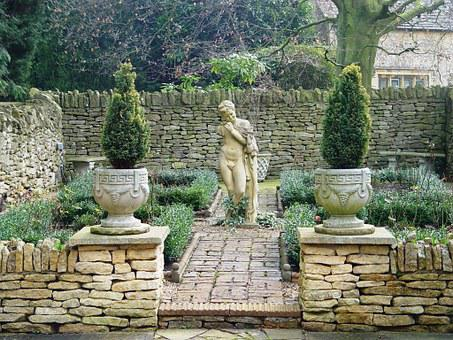 Garden, Picturesque, Wall, Quaint, England, Cotswolds