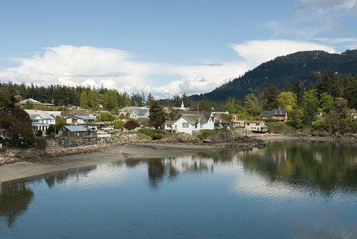 Village, Lakeside, Quaint, Cove, Architecture, Skyline