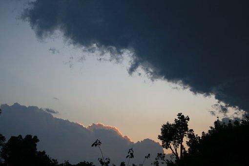 Clouds Dark, Edged, Gilt, Sunset, Soft, Glow, Sky