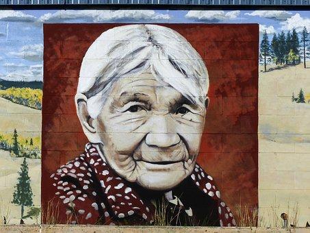 Eliza Archie, Wall Painting, Portrait, Native, Woman
