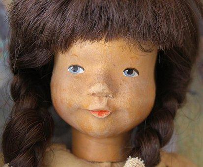 Doll, Face, Old, Vintage, Wood Carving, Portrait, Toys