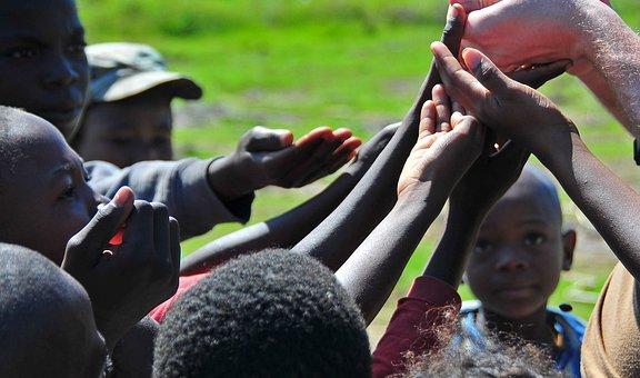 Haiti, Children, Boys, Girls, Reaching, Giving Candy