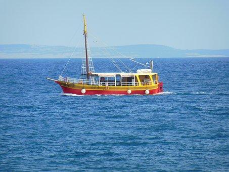 Croatia, Island Of Krk, Ship, Blue Sky, Water, Sea