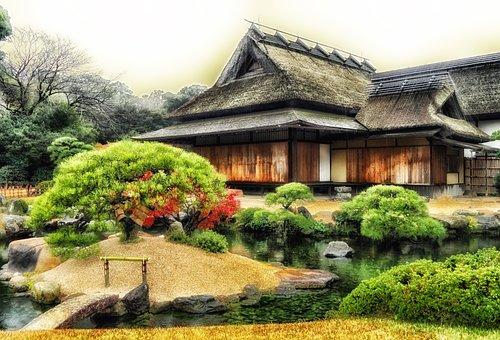 Okayama, Japan, Temple, Building, Trees, Plants, Pond